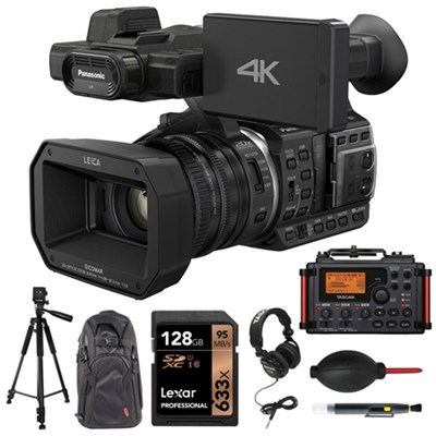 4K 24p Cinema 60p Video Camcorder - Black w/ Tascam Portable Recorder Bundle