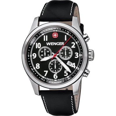 Men's Terragraph Chonograph Watch - Black Dial/Black Leather Strap