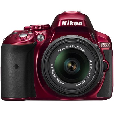 D5300 DX-Format Digital SLR Camera Kit w/ 18-55mm DX VR II Lens - Red