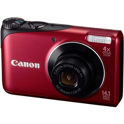 PowerShot A2200 14MP Red Digital Camera w/ 4x Zoom & 720p HD Video