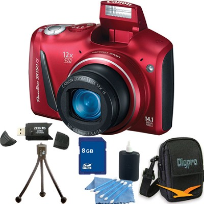 Powershot SX150 IS 14MP 12x Zoom Red Digital Camera 8GB Bundle