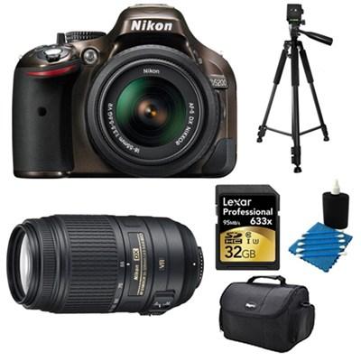 D5200 DX-Format Bronze 32 GB SLR Camera with 18-55mm and 55-300mm VR Lens Bundle