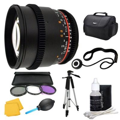 85mm T1.5 Aspherical Cine Lens and Filter Kit Bundle for Sony Alpha Mount
