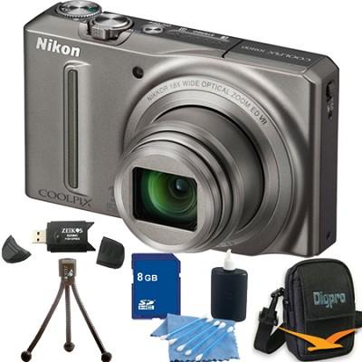 COOLPIX S9100 12MP Silver Digital Camera 8GB Bundle