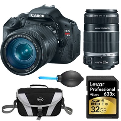 EOS Digital Rebel T3i 18MP SLR Camera 18-135mm & 55-250mm Instant Rebate Bundle