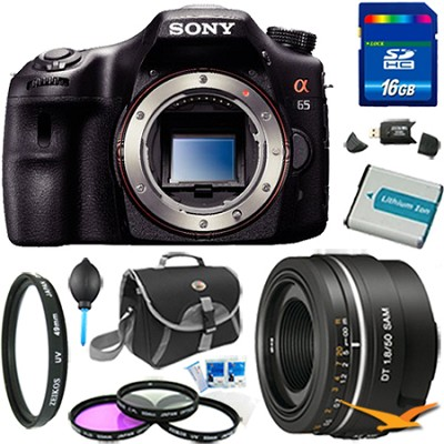 SLTA65V - a65 Digital SLR Camera 24.3 MP with 50mm f1.8 Lens Bundle