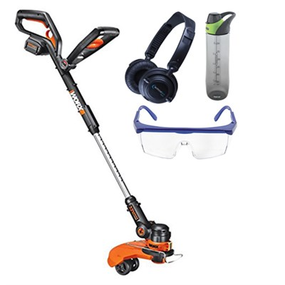 32V Max Lithium Cordless Grass Trimmer/Edger with Wheel Set w/ Safety Bundle