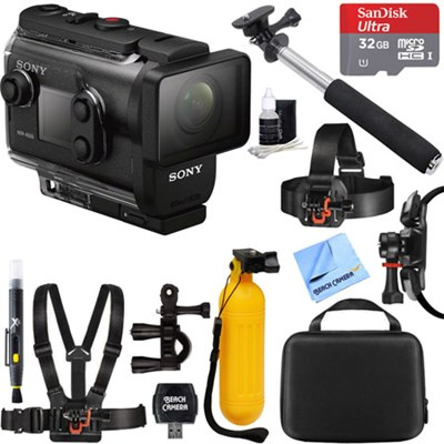 HDRAS50R/B Full HD Action Cam + Live View Remote Bundle + 32GB Mount Kit