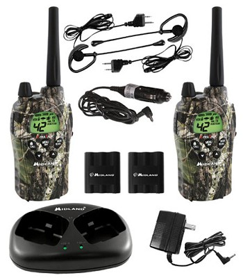 FRS/GMRS MO 42 Channel 30 Mile 5 Watt Ear/Mic & Charger (pair)