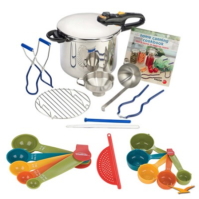Duo 10 Pc. Stainless Steel Pressure Canner Set, Measuring Sets, Drainer Bundle