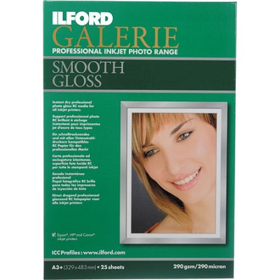 Galerie Smooth Gloss Inkjet 13 x 19 Photo Paper, 25 Sheets