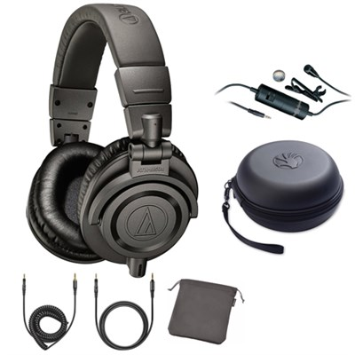 Limited Edition Professional Studio Monitor Headphones Matte Gray w/ Mic Bundle