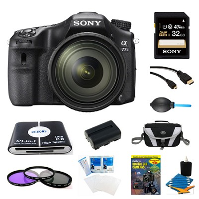 a77II HD DSLR Camera with 16-50mm Lens, 32GB Card, and Battery Bundle
