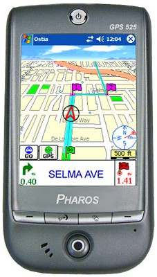 Traveler GPS 525 handheld GPS reciever w/ WiFi, Bluetooth, & Windows Mobile 5.0