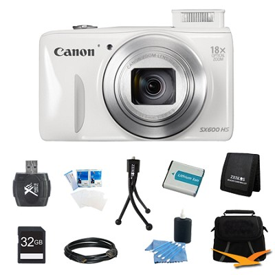 PowerShot SX600 HS 16.1MP 18x Zoom 3-inch LCD White Ultimate Bundle