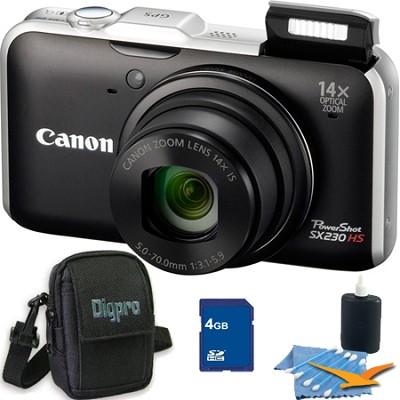 PowerShot SX230 HS Black Digital Camera 4GB Bundle