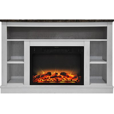 47.2 x15.7 x32.5  Seville Fireplace Mantel with Logs and Grate Insert White