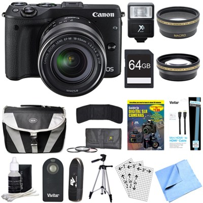 EOS M3 Wi-Fi Black Digital Camera EF-M 18-55mm IS STM Lens 64GB Deluxe Bundle