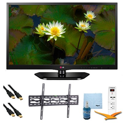 24-Inch 720p 60Hz EDGE LED HDTV Plus Tilt Mount & Hook-Up Bundle (24LB4510)