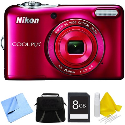 COOLPIX L32 20.1MP 720P HD Video Digital Camera - Red Bundle