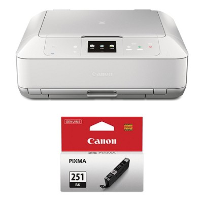 PIXMA MG7520 Color Wireless All-in-One Inkjet White Printer Black Ink Bundle