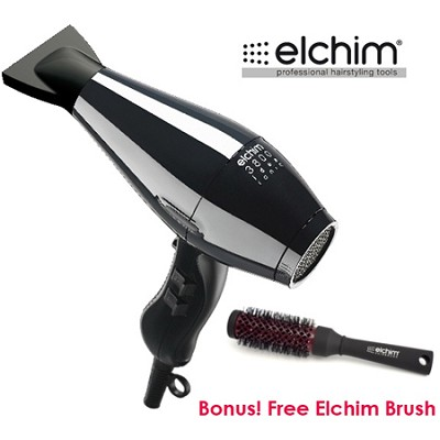 Bundle 3800 Idea Ionic Hair Dryer in Black + Free Elchim 1-3/4` Round Brush