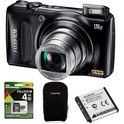 FinePix F300EXR 12MP Digital Camera 15x WideAngle Zoom 3` LCD HD Holiday Bundle