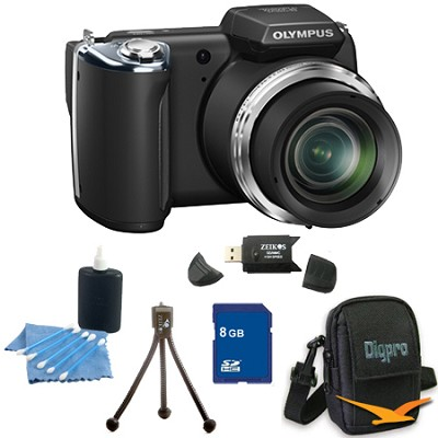 8 GB Kit SP-620UZ 16 MP 3-inch LCD Black Digital Camera - Black