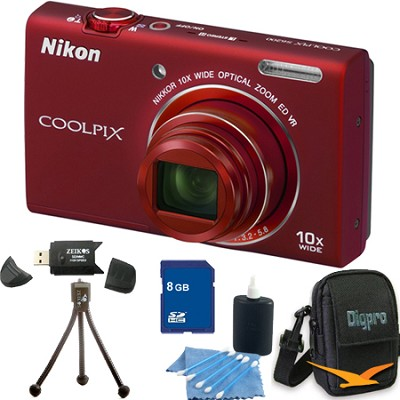 COOLPIX S6200 Red 10x Zoom 16MP Camera 8GB Bundle