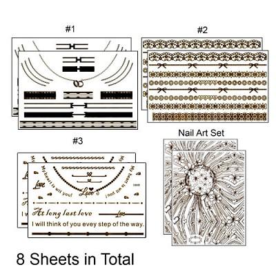MetalicTemporary Bling Tattoos 6 Decal sheets & 2 Nail art sheets (gold/silver)
