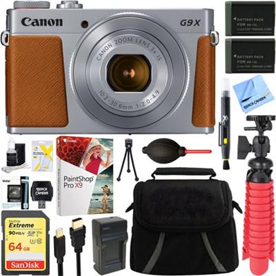 PowerShot G9 X Mark II Silver Digital Camera + Spare Batteries & Accessory Kit