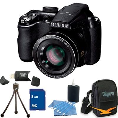 FinePix S4000 14 MP 3` LCD Digital Camera w/ 30x Super Wide Zoom 8GB Bundle