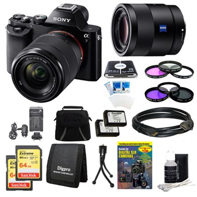 Alpha 7K a7K Digital Camera, 55mm Lens, 2 64 GB SDHC Cards, 2 Batteries Bundle