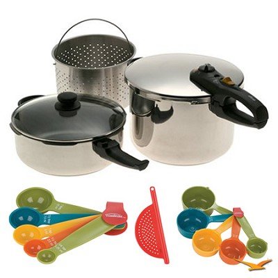 Duo 2-in-1 5 Pc. Combi Pressure Cooker Deluxe, Measuring Sets and Drainer Bundle