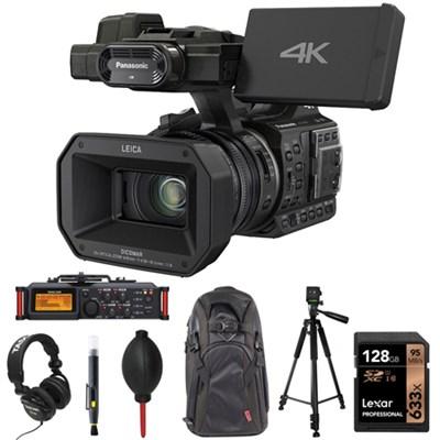 4K 24p Cinema 60p Video Camcorder Black with Tascam Recorder Bundle