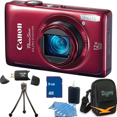 PowerShot ELPH 510 HS Red Digital Camera 8GB Bundle