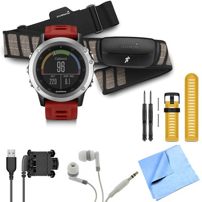 fenix 3 Multisport Training GPS Watch with Heart Rate Monitor Yellow Band Bundle