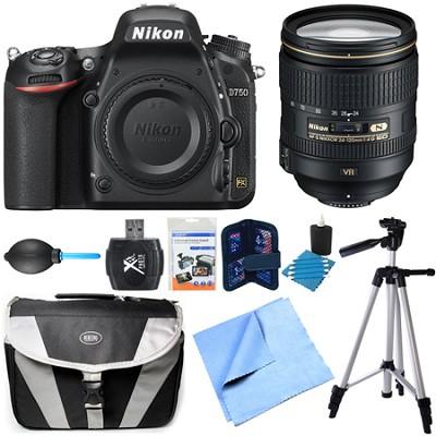 D750 DSLR 24.3MP HD 1080p FX-Format Camera Body 24-120mm NIKKOR Lens Bundle