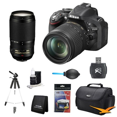 D5200 DX-Format Digital SLR with 18-105mm and 70-300mm AF-S VR Lens Kit