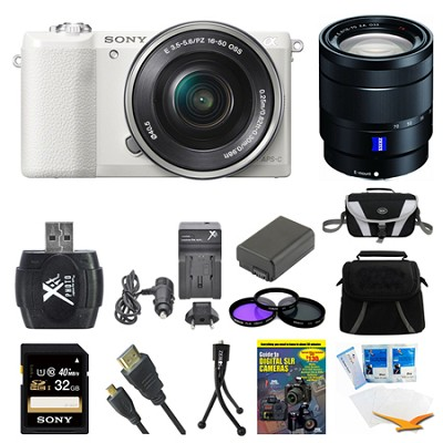 a5100 Mirrorless Camera w/ 16-50mm and 16-70mm Lens White Bundle