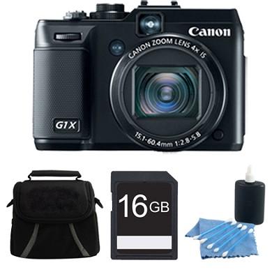 Powershot G1X 14.3 MP Digital Camera 1080p Video 3.0` Vari-Angle LCD 4 GB Bundle