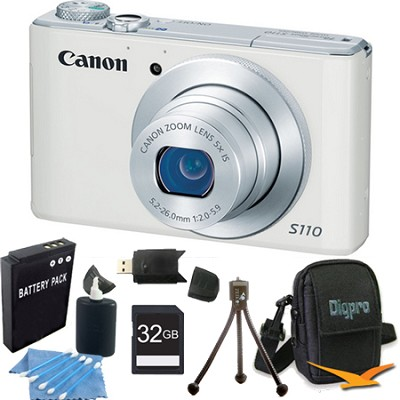 PowerShot S110 White Compact High Performance Camera 32GB Bundle
