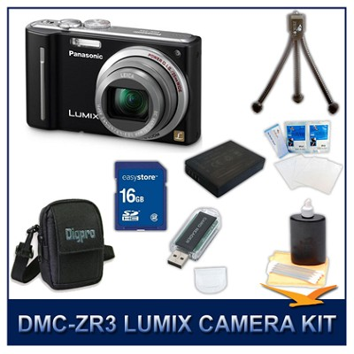 DMC-ZS5K LUMIX 12.1 MP Digital Camera (Black), 16GB SD Card, and Camera Case