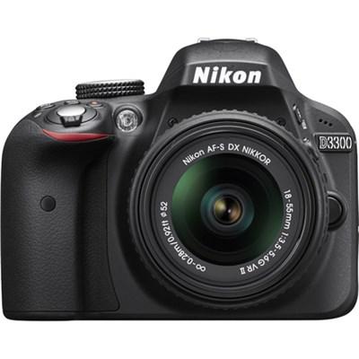 D3300 DSLR 24.2 MP HD 1080p Camera with 18-55mm Lens - Black - OPEN BOX