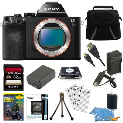 ILCE-7S/B a7S Full Frame Mirrorless Camera 32GB SDHC Card & Battery Bundle