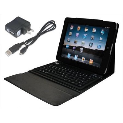 iPad Bluetooth Keyboard Case with A/C Wall charger