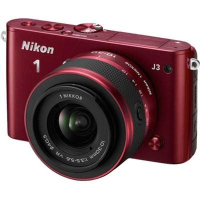 1 J3 14.2MP Digital Camera with 10-100mm VR Lens (Red) Manufacturer Refurbished