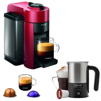Vertuoline Evolu Espresso Maker/Coffee Maker Cherry Red w/ Aroma Milk Frother