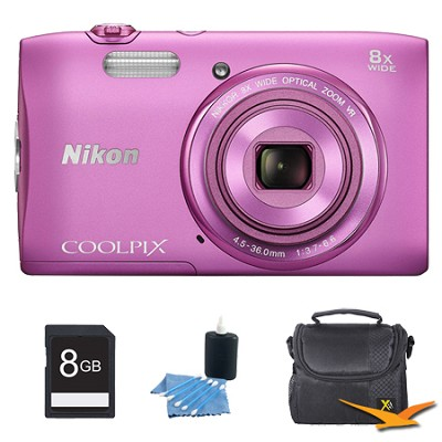 COOLPIX S3600 20.1MP 2.7` LCD Digital Camera with 720p HD Video Pink Kit