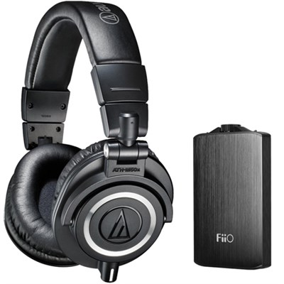 ATH-M50X Professional Studio Black Headphones & FiiO A3 Titanium Amplifier